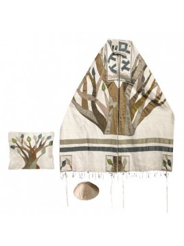 Set de Talit pochette et Kippa artistique decore de bandes en soie Arbre de la vie