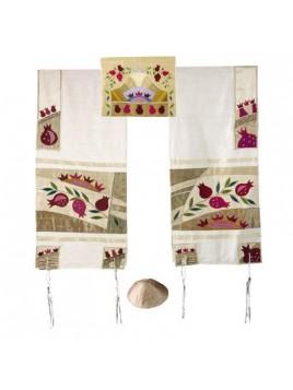 Set de Talit pochette et Kippa artistique decore de bandes en soie Courone de la bible
