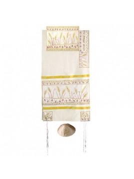 Set de Talit pochette et Kippa artistique decore de bandes en soie epis de ble dore