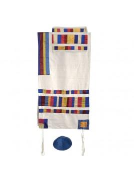 Set de Talit Pochette et Kippa assorties avec bande de soie applique multicolor