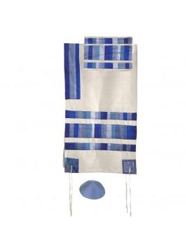 Set de Talit Pochette et Kippa assorties avec bande de soie applique bleu