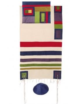 Set de Taleth pochette et Kippa avec bande de soie applique multi-couleurs