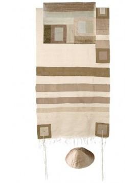 Set de Taleth pochette et Kippa avec bande de soie applique dore