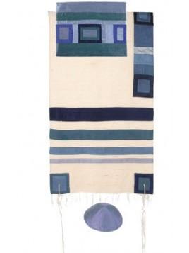 Set de Taleth pochette et Kippa avec bande de soie applique bleu