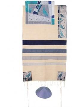 Chale de priere artistique avec bandes de soie applique colombes de la paix
