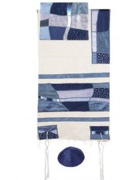 Chale de priere artistique avec bandes de soie applique abstrait d'art