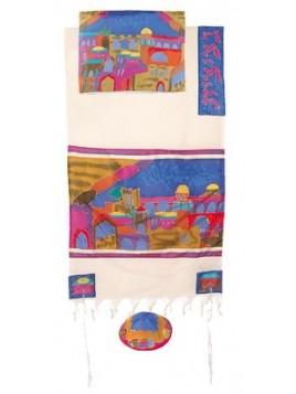 Talit coton et soie paint a la main Les portes de Jerusalem