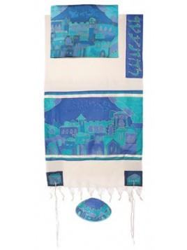Talit coton et soie paint a la main Les portes de Jerusalem en bleu
