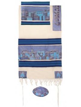 Talit coton et soie paint a la main Jerusalem la nuit