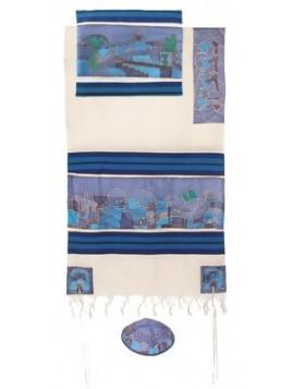 Talit coton et soie paint a la main arcade de Jerusalem