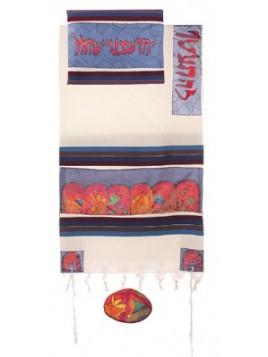 Talit coton et soie paint a la main Les 12 tribus d'Israel