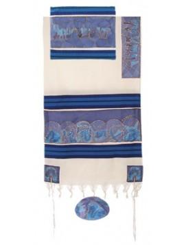 Talit coton et soie paint a la main Les 12 tribus d'Israel en bleu