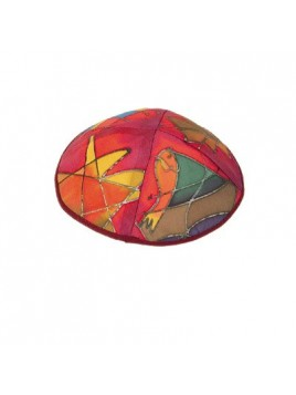 Kippa - avec dessin sur soie