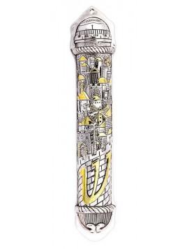 Boitier de Mezouzah 20cm design de jerusalem plaque argent