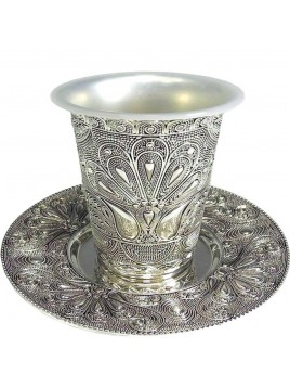 Kiddush Cup w/Coaster Filigree
