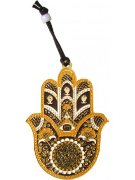 Hanger Hamsa Small Gold Brown Plated