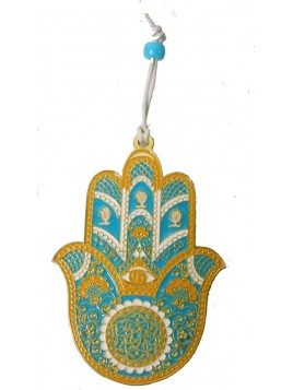 Hanger Hamsa Small Gold Turquoise Plated