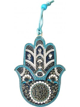 Hanger Hamsa Small Silver Blue Plated