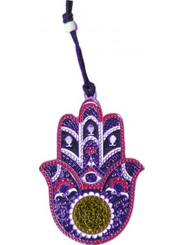 Hanger Hamsa Small Silver Brown Plated