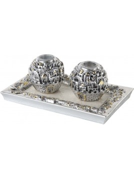 Candle Holders w/Tray Jerusalem 925