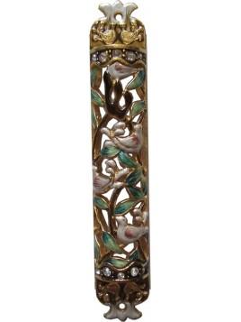 Mezuzah Enamel Doves 8 cm