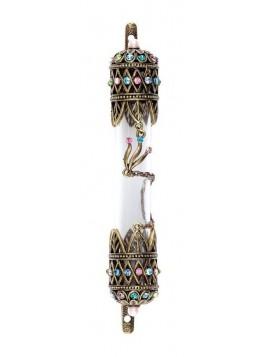Boitier Mezouzah en Verre sertie de cristaux 10cm