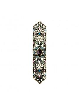 Boitier Mezouzah sertie de cristaux 12 cm