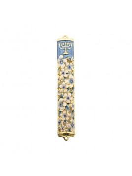 Boitier Mezouzah sertie de cristaux 12 cm Bleu-blanc