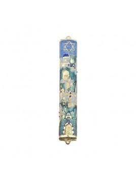 Boitier Mezouzah sertie de cristaux 12 cm bleu et blanc