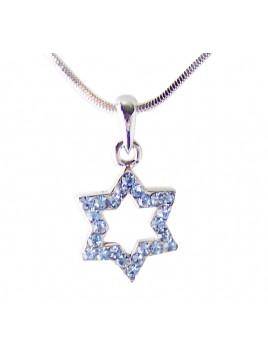 Etoile de David Bleu cristaux bleu ciel