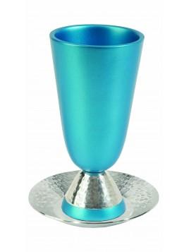 Verre de Kiddouch en aluminium tons turquoise