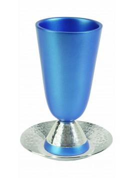 Verre de Kiddouch en aluminium tons bleue