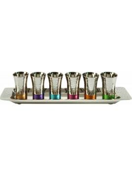 Set de 6 Verres+ avec sous tasse en nickel multicolore