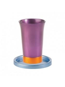 Verre de Kiddouch avec assiette assortie anodisé bleu + violet