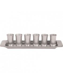 Set de 6 verres avec assiette assortie Aluminium brut