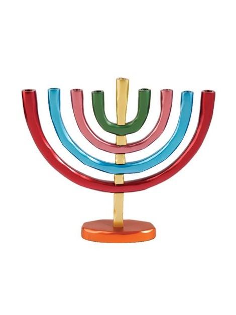 Hanoukiah a 9 branches anodisé multicolore