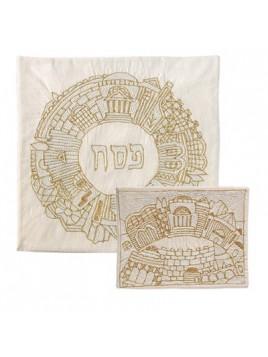 Couvre Matsa brodé a la main avec 3 poches Jérusalem rond Couleur Or