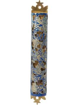 Boitier Mezouza Taillé sur métal Grenadier bleu