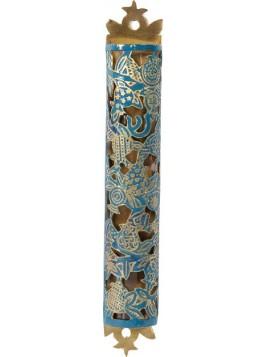 Boitier Mezouza Taillé sur métal Grenadier turquoise