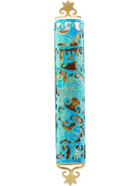 Boitier Mezouza Taillé sur métal Thème d'oiseaux turquoise