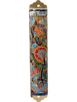 Boitier Mezouza Taillé sur métal Fleurs multicolore