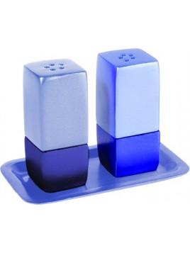 Salière et poivre sur plat en métal Bleu