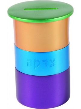 Boite de Tsedaka en métal rond vert + multicolore