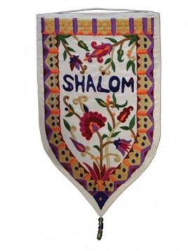 """Décoration Murale forme spéciale XXL """"Shalom"""" En anglais Blanc"""