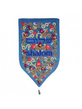 """Décoration Murale forme spéciale XXL """"Shalom"""" en Hébreu En anglais bleu"""