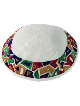 Kippa Avec broderie Géométrique multicolore