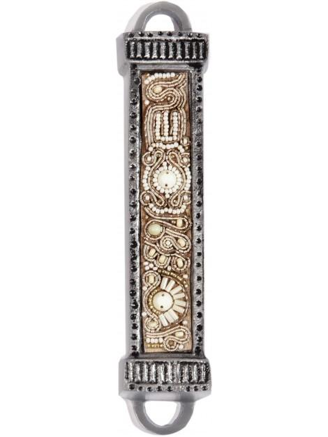 Boitier Mezouza en métal Avec Broderies Couleur perle