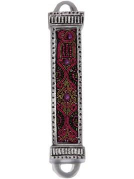 Boitier Mezouza en métal Avec Broderies violet