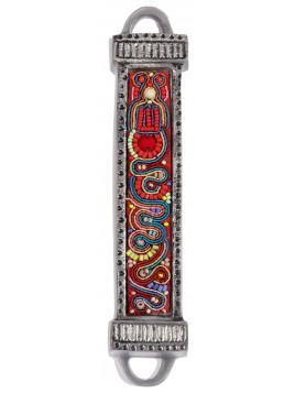 Boitier Mezouza en métal Avec Broderies multicolore