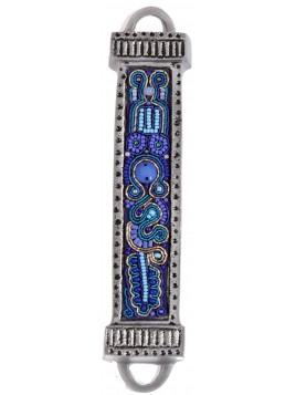 Boitier Mezouza en métal Avec Broderies bleu